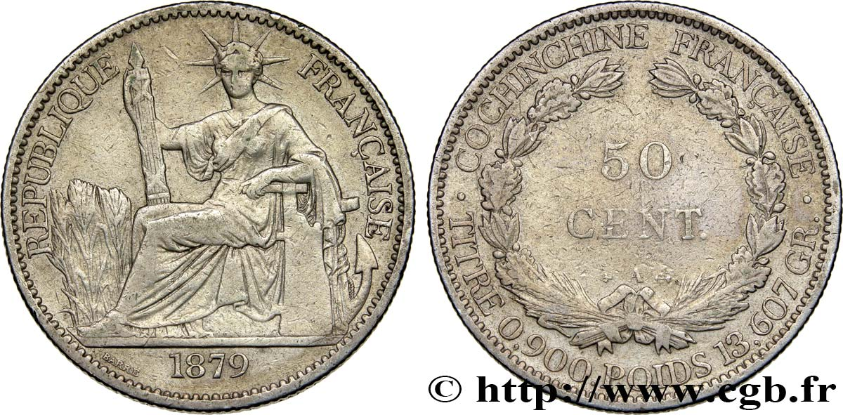 COCHINCHINE FRANÇAISE 50 Centimes 1879 Paris TTB