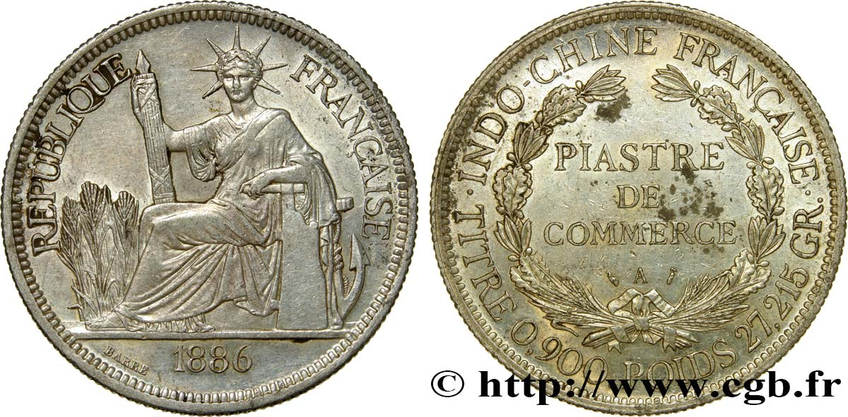 INDOCHINE FRANÇAISE 1 Piastre de Commerce 1886 Paris SUP