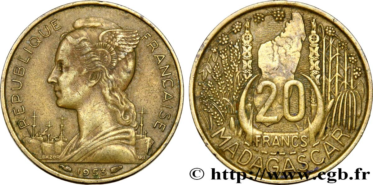 MADAGASCAR - Union française 20 Francs 1953 Paris TTB