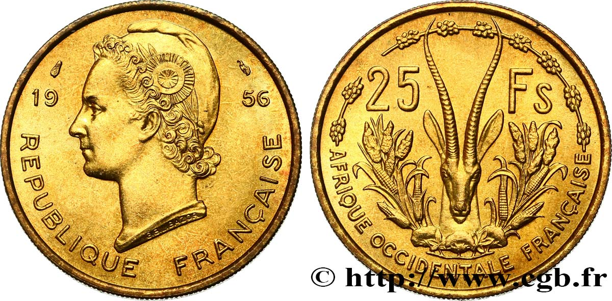 FRENCH WEST AFRICA 25 Francs 1956 Paris MS