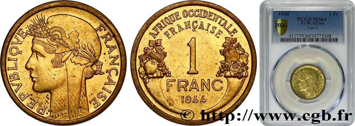 FRENCH WEST AFRICA 1 Franc Morlon 1944 Londres MS64 PCGS