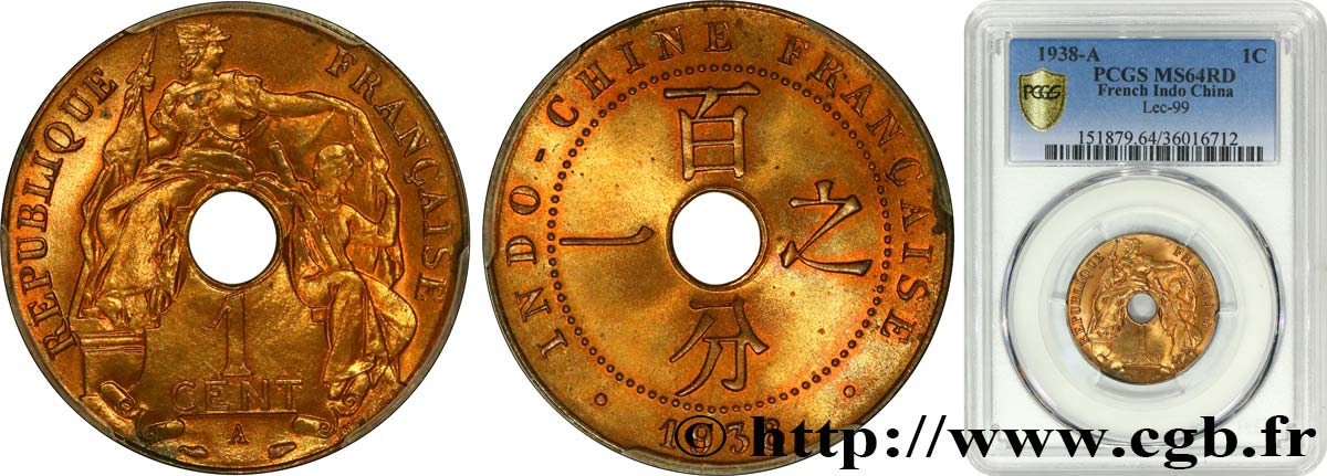 FRENCH INDOCHINA 1 Centième 1938 Paris MS64 PCGS