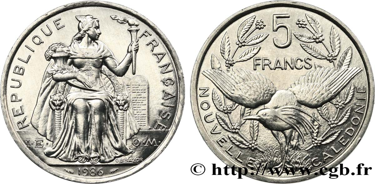 NEW CALEDONIA 5 Francs I.E.O.M. 1986 Paris MS