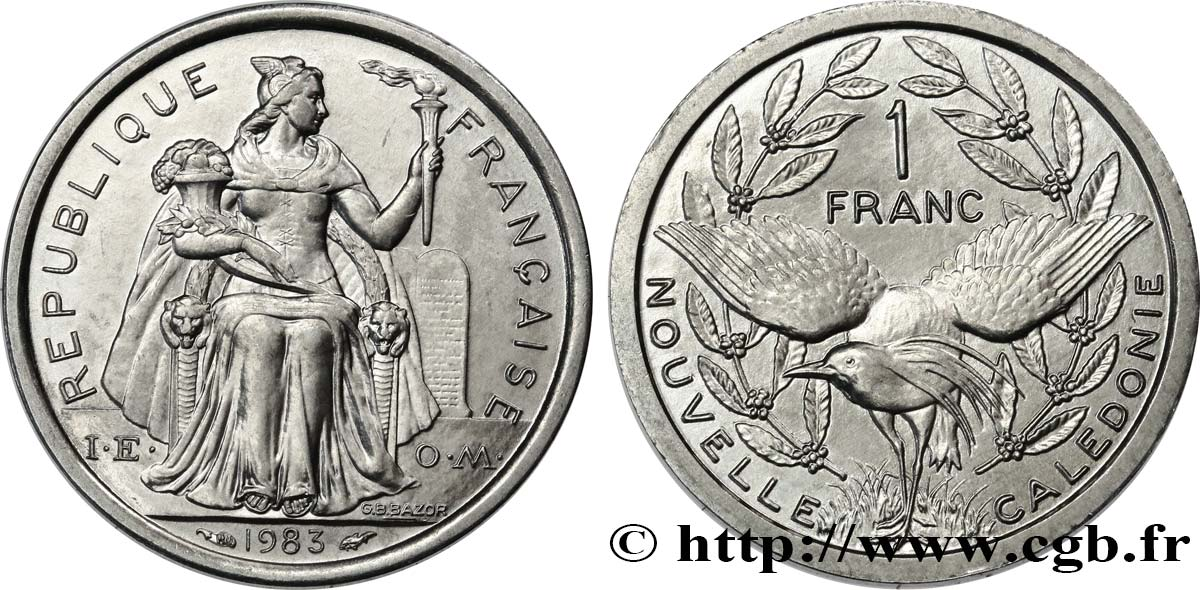 NEW CALEDONIA 1 Franc I.E.O.M. 1988 Paris MS