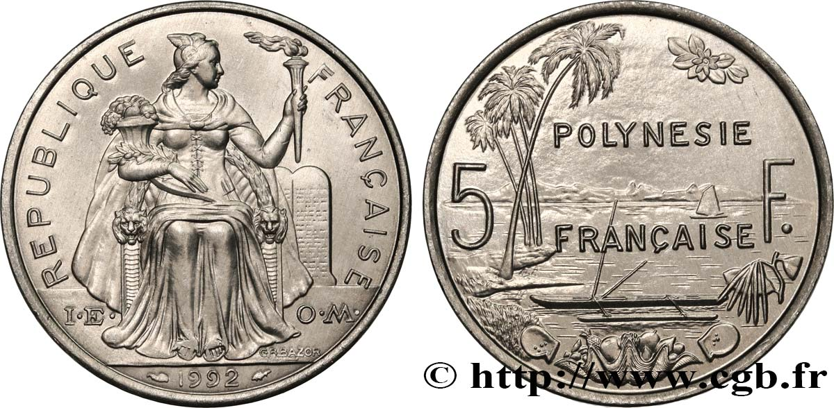 FRENCH POLYNESIA 5 Francs I.E.O.M. 1992 Paris MS