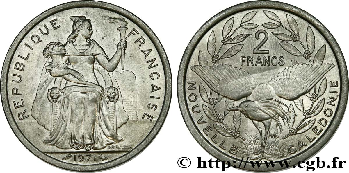 NUOVA CALEDONIA 2 Francs 1971 Paris MS