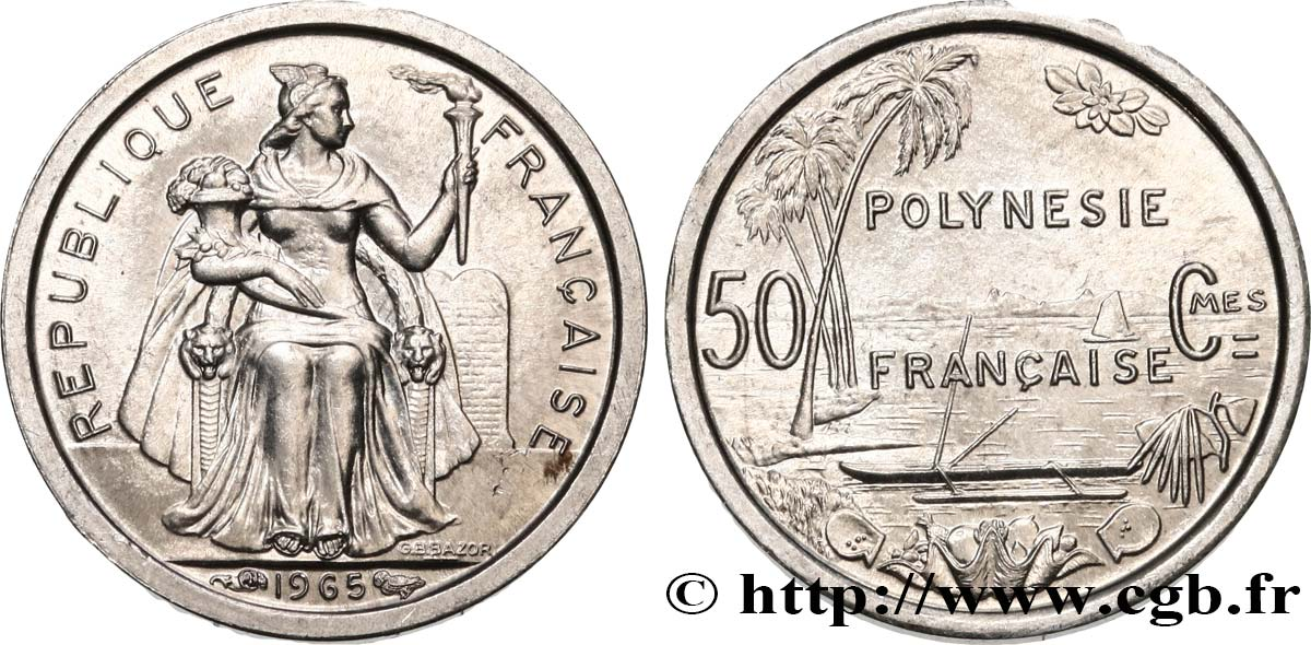 FRENCH POLYNESIA 50 Centimes 1965 Paris MS