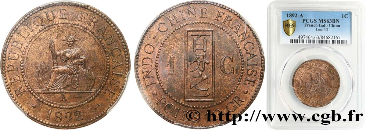 FRENCH INDOCHINA 1 Centième 1892 Paris MS63 PCGS
