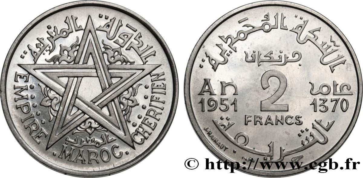 ca MAROC MOROCCO 2 francs 1370-1951