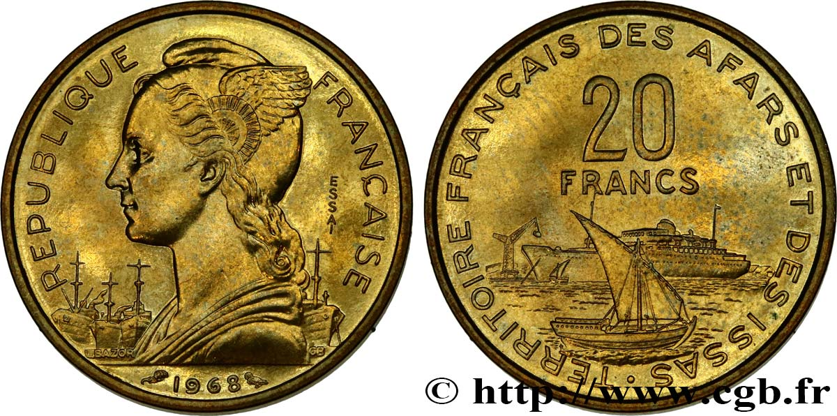 DJIBOUTI - French Territory of the Afars and the Issas Essai de 20 Francs Marianne / port 1968 Paris MS