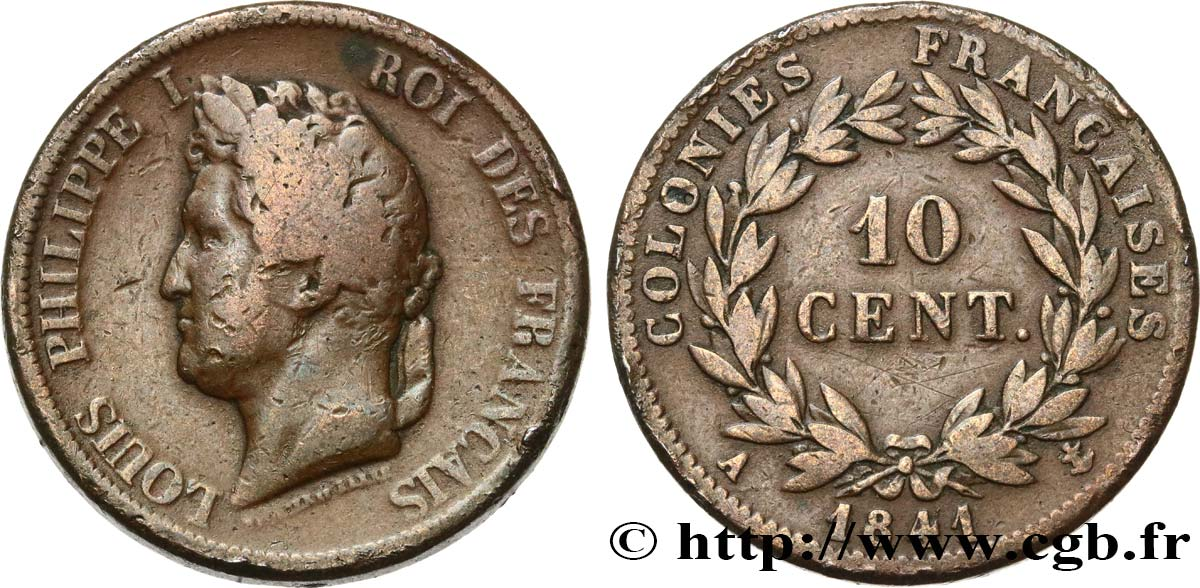 FRENCH COLONIES - Louis-Philippe for Guadeloupe 10 Centimes 1841 Paris VF