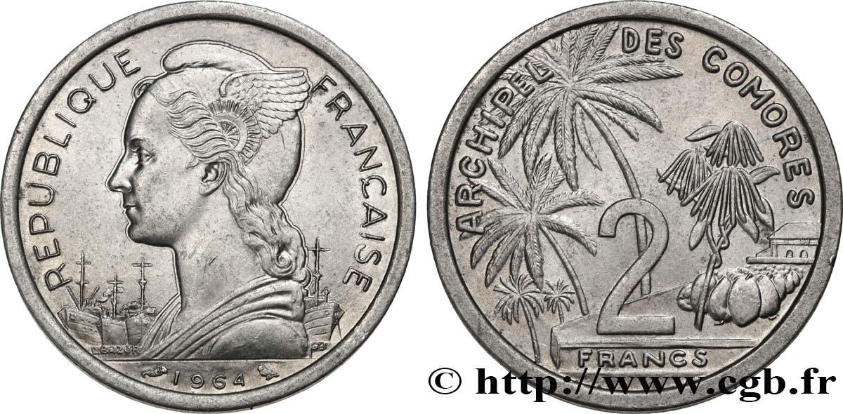 COMORES - Archipel 2 Francs 1964 Paris SUP