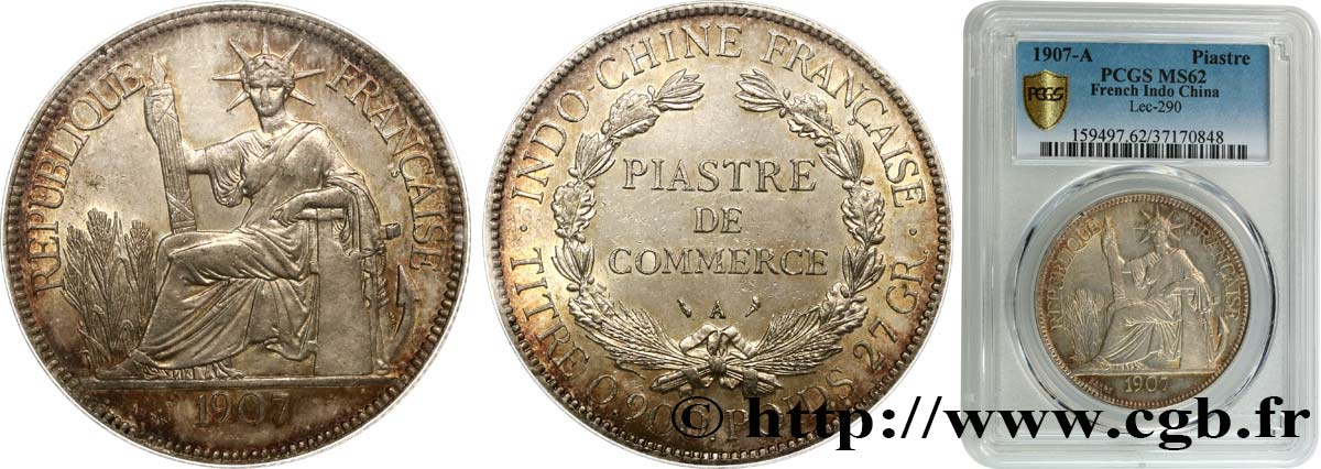 INDOCHINE FRANÇAISE 1 Piastre de Commerce 1907 Paris SUP62 PCGS