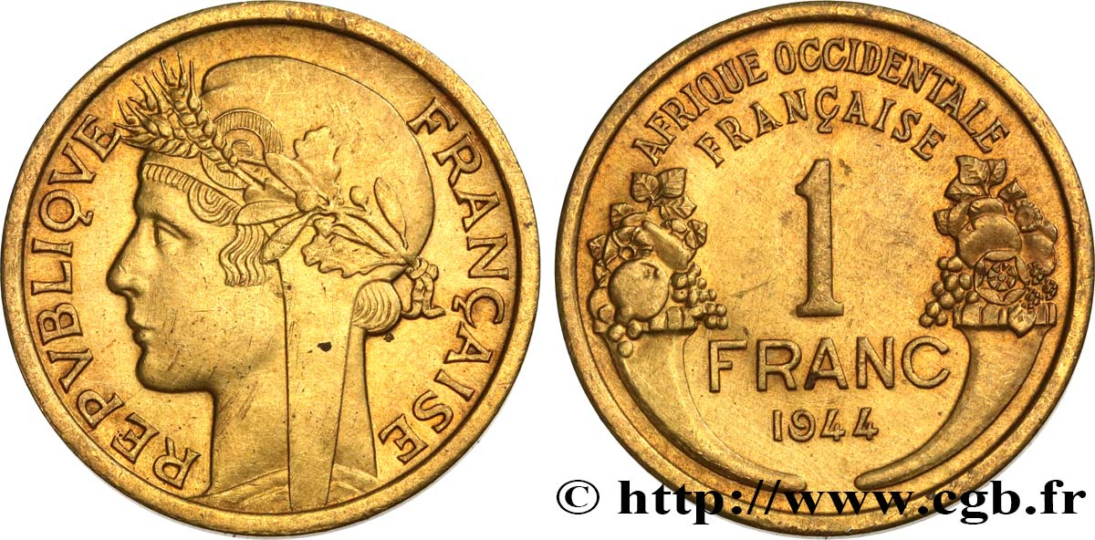 AFRICA OCCIDENTALE FRANCESA 1 Franc Morlon 1944 Londres SPL