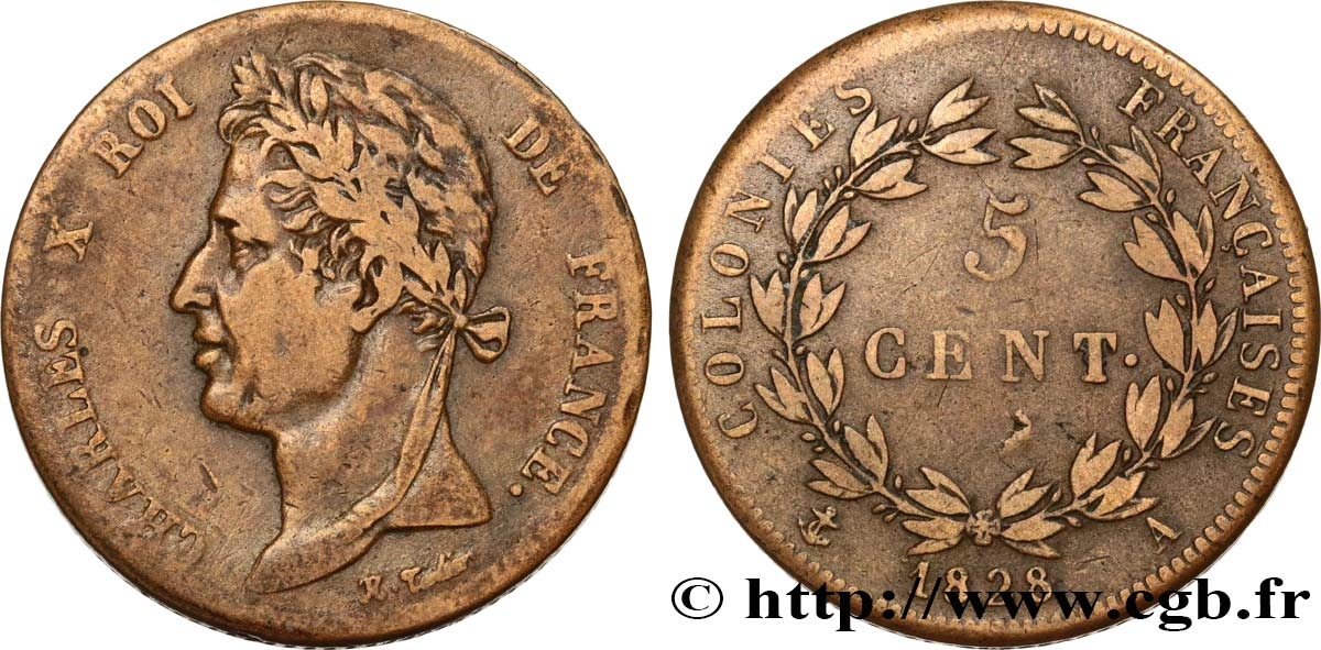 FRENCH COLONIES - Charles X, for Guyana 5 Centimes Charles X 1828 Paris - A VF