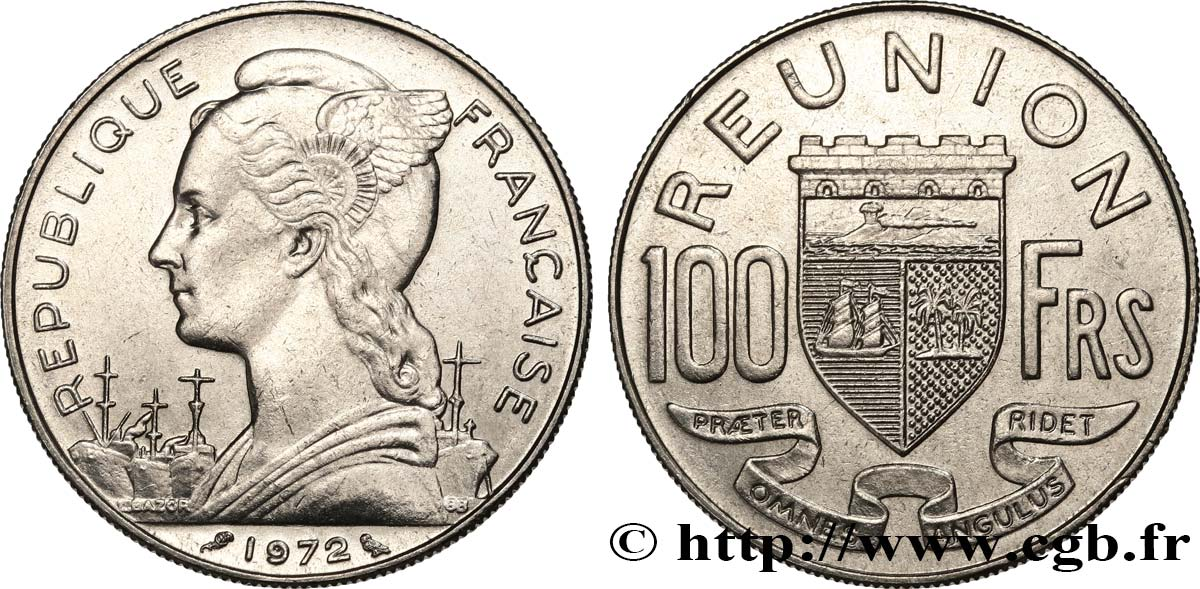 REUNION ISLAND 100 Francs 1972 Paris AU