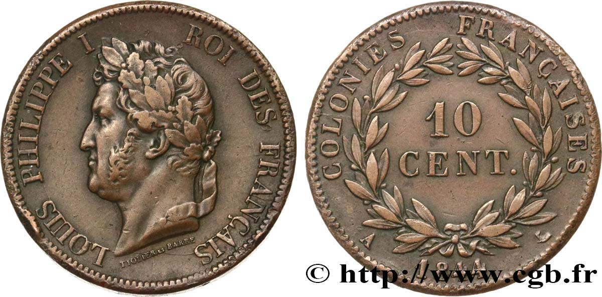 COLONIE FRANCESI - Luigi Filippo, per Isole Marchesi 10 Centimes 1844 Paris BB