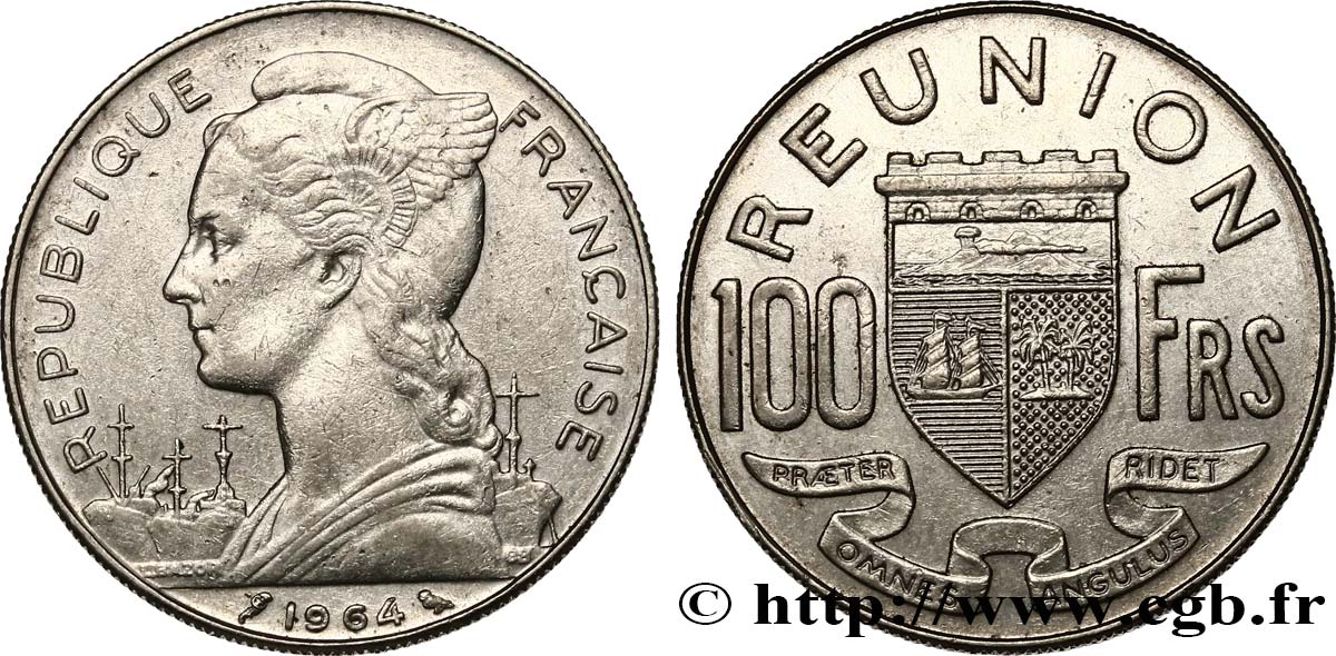REUNION ISLAND 100 Francs 1964 Paris XF