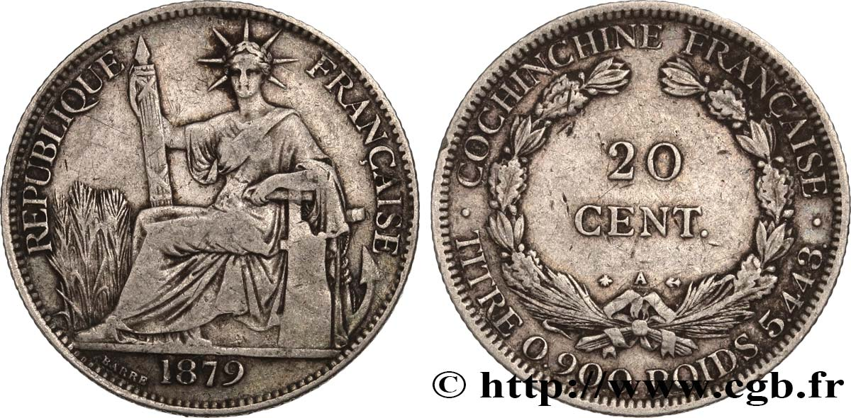 FRENCH COCHINCHINA 20 Centimes 1879 Paris VF