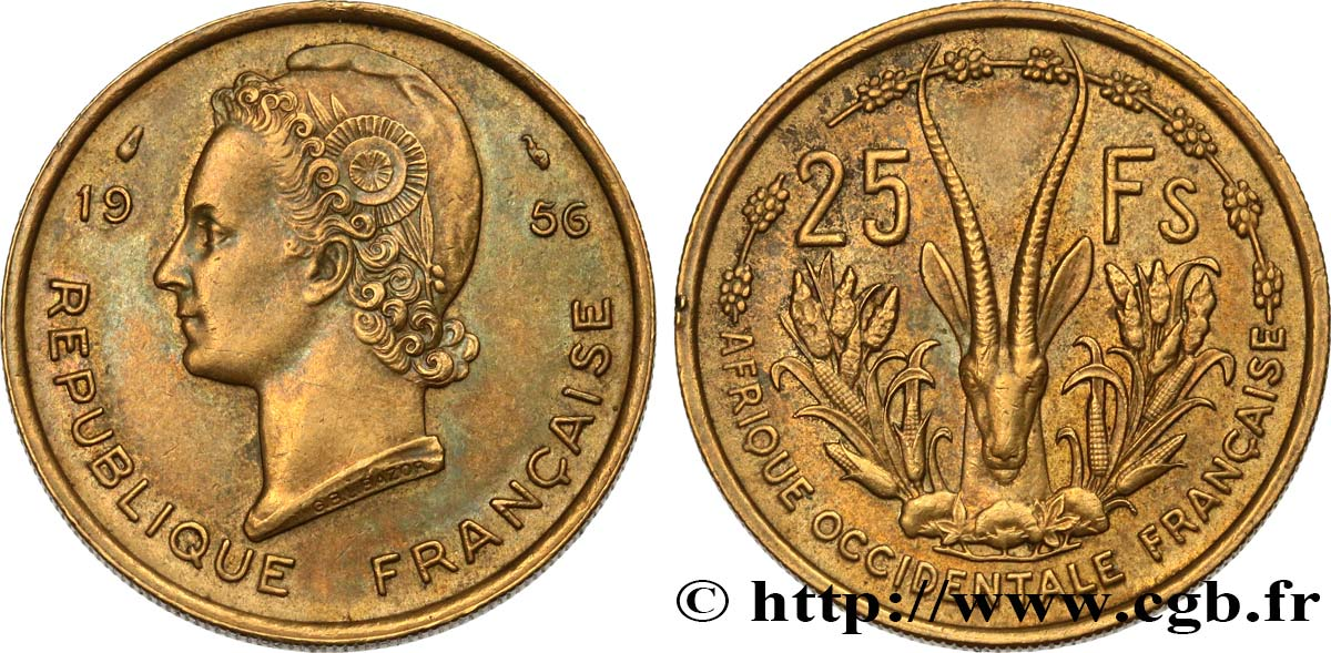 FRENCH WEST AFRICA 25 Francs 1956 Paris XF