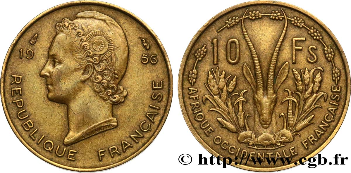 FRENCH WEST AFRICA 10 Francs 1956 Paris XF