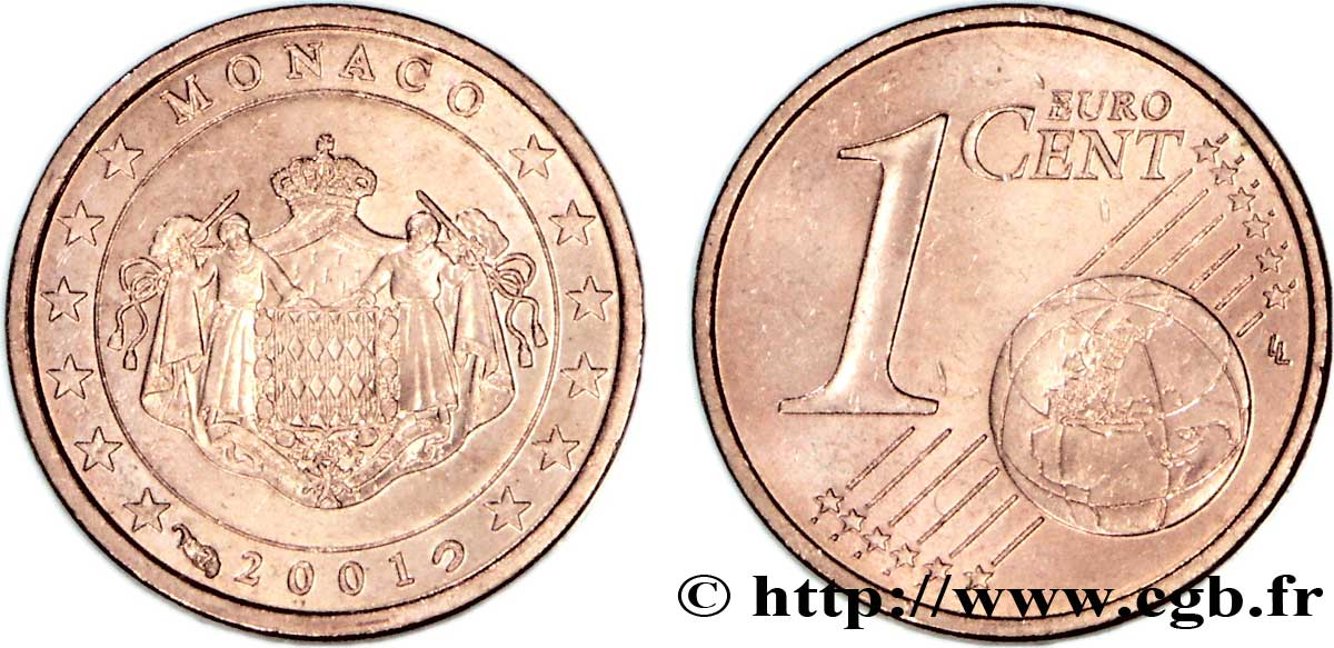 MONACO 1 Cent ARMOIRIES 2001 SPL