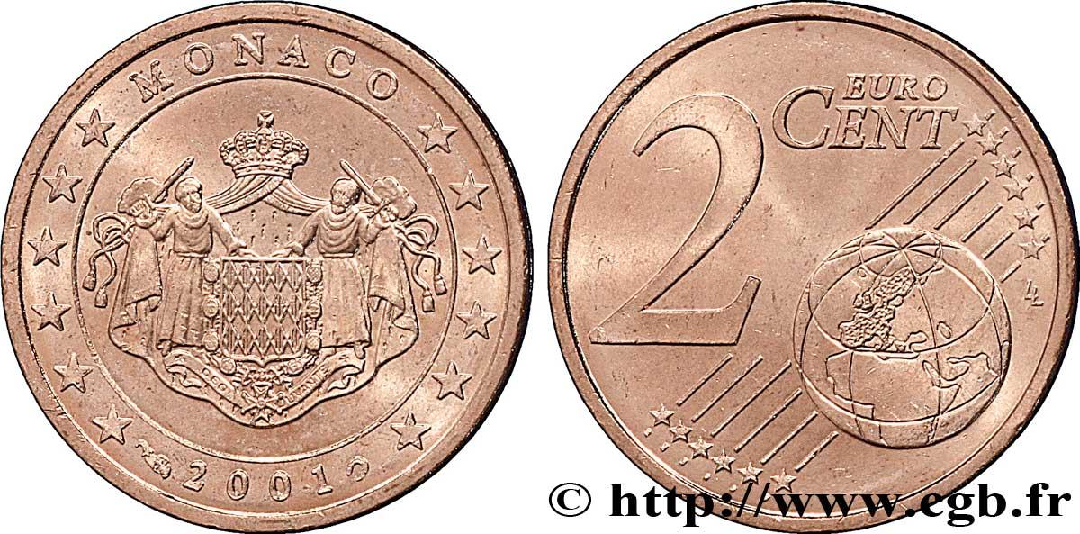 monaco 2 cent armoiries 2001 pessac feu 098631 euros. Black Bedroom Furniture Sets. Home Design Ideas
