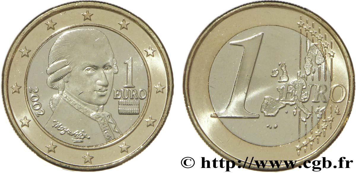 österreich 1 Euro Mozart 2002 Vienne Feu099751 Euro Münzen