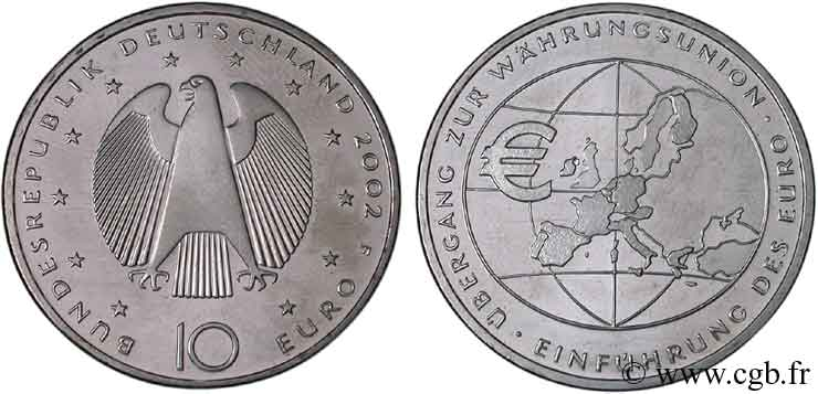 ALLEMAGNE 10 Euro INTRODUCTION DE L EURO 2002 SUP58