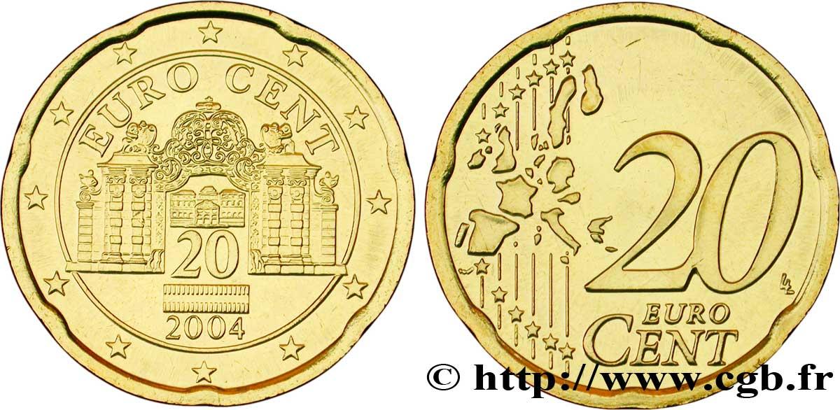 österreich 20 Cent Belvédère 2004 Vienne Feu103294 Euro Münzen