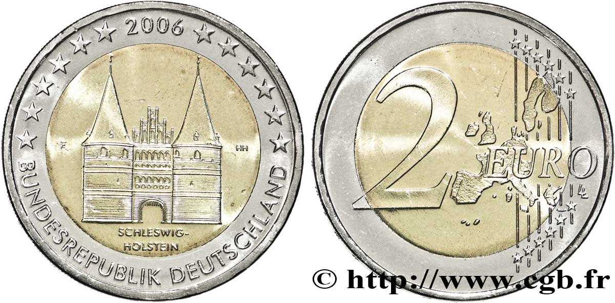 Allemagne 2 Euro Schleswig Holstein Holstentor De Lubeck Tranche A
