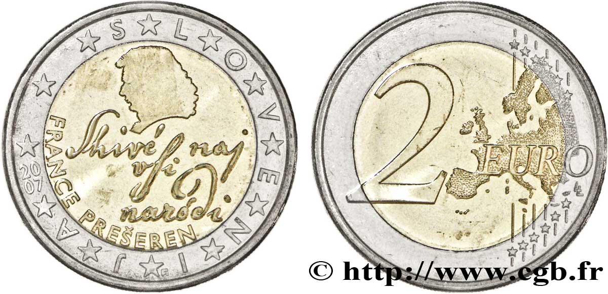Slowenien 2 Euro France Prešeren Tranche A 2007 Vanda Feu154473