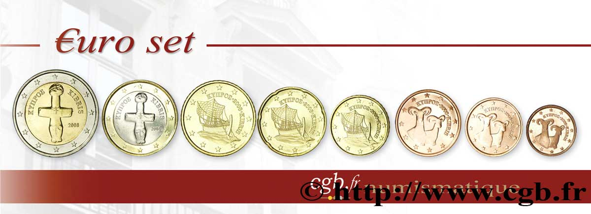 Zypern Lot De 8 Pièces Euro 1 Cent 2 Euro Idole De Pomos 2008