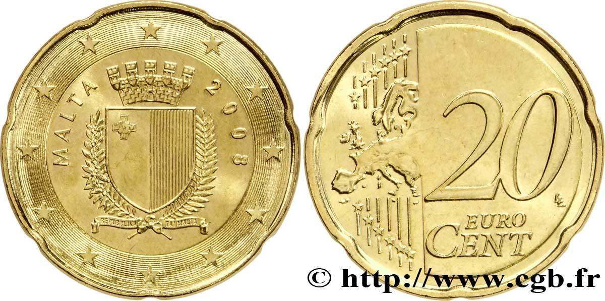 Malta 20 Cent Armoiries 2008 Pessac Feu175939 Euro Münzen