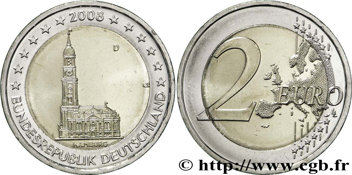 GERMANY 2 Euro HAMBOURG - ÉGLISE SAINT-MICHEL tranche B - Munich D 2008 MS63