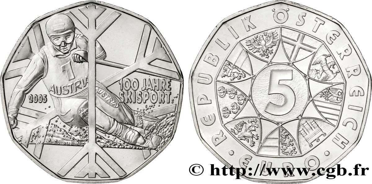 österreich 5 Euro 100 Ans De Ski 2005 Vienne Feu186992 Euro Münzen