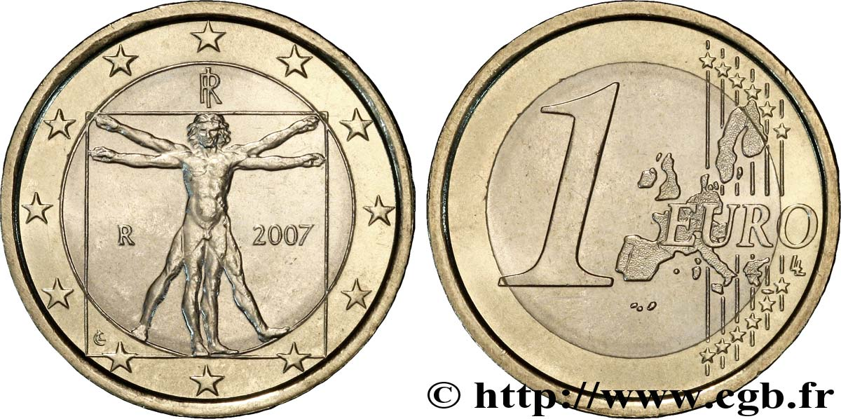 Italien 1 Euro Léonard De Vinci 2007 Rome Feu189064 Euro Münzen