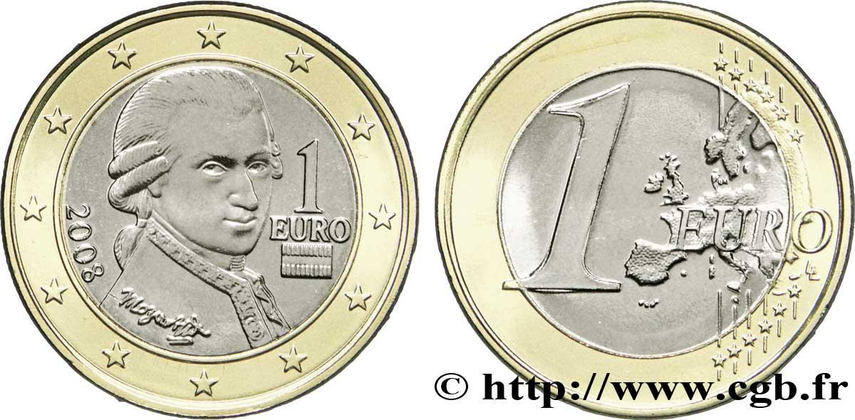 österreich 1 Euro Mozart 2008 Vienne Feu195696 Euro Münzen