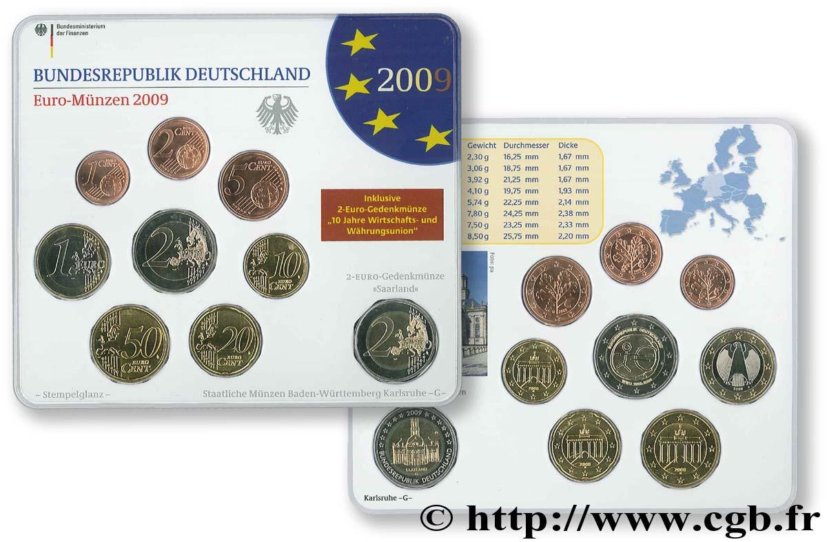 Allemagne Série Euro Fleur De Coin Karlsruhe G 2009 Karlsruhe G