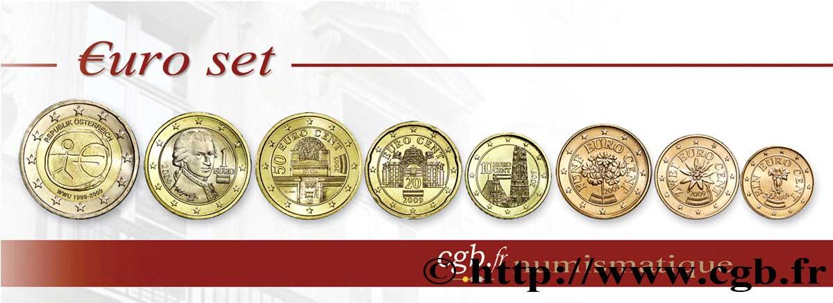 österreich Lot De 8 Pièces Euro 1 Cent 2 Euro 10 Ans De Leuro