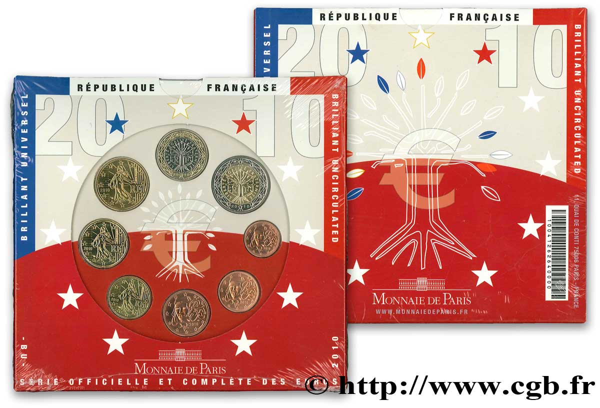 FRANCE SÉRIE Euro BRILLANT UNIVERSEL 2010 Brilliant Uncirculated