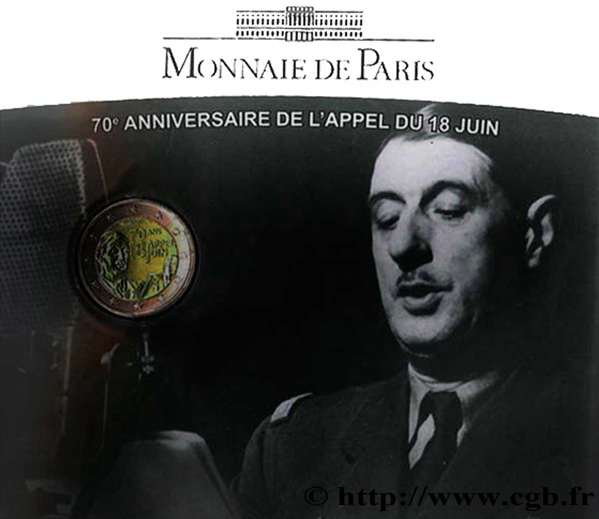 Frankreich Coin Card 2 Euro 70e Anniversaire De Lappel Du 18 Juin