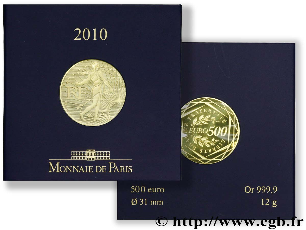 monnaie de paris 500 euros or 2010