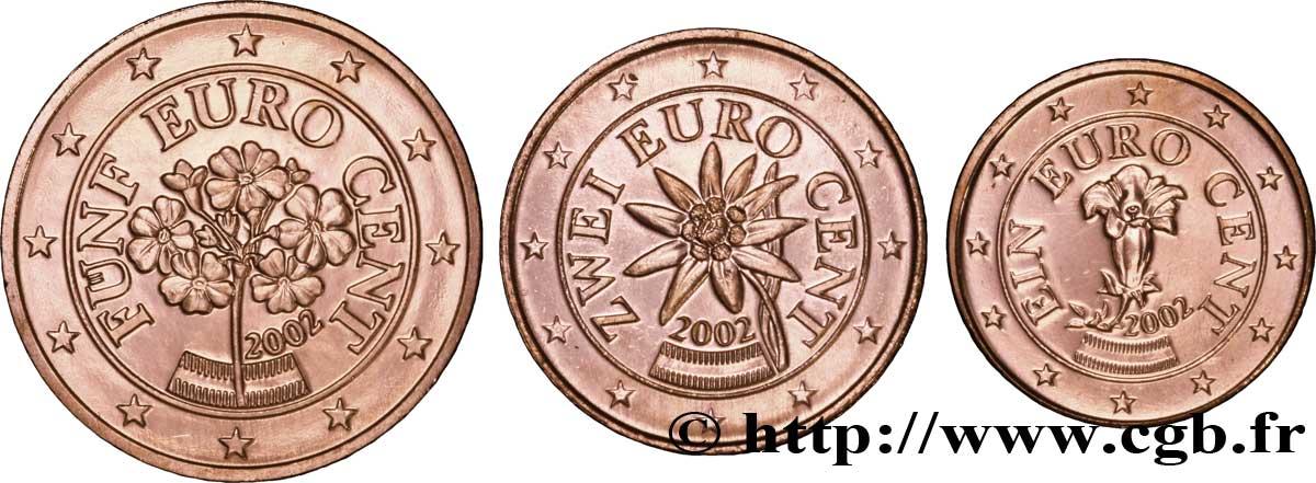 österreich Lot 1 Cent 2 Cent 5 Cent Gentiane Edelweiss Primevère