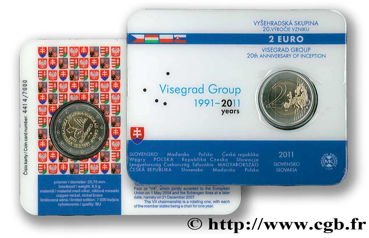 Slowakei Coin Card 2 Euro 20ème Anniversaire Du Groupe De Visegrad