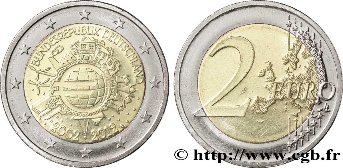 Deutschland 2 Euro 10 Ans Des Pièces Et Billets En Euros Tranche A