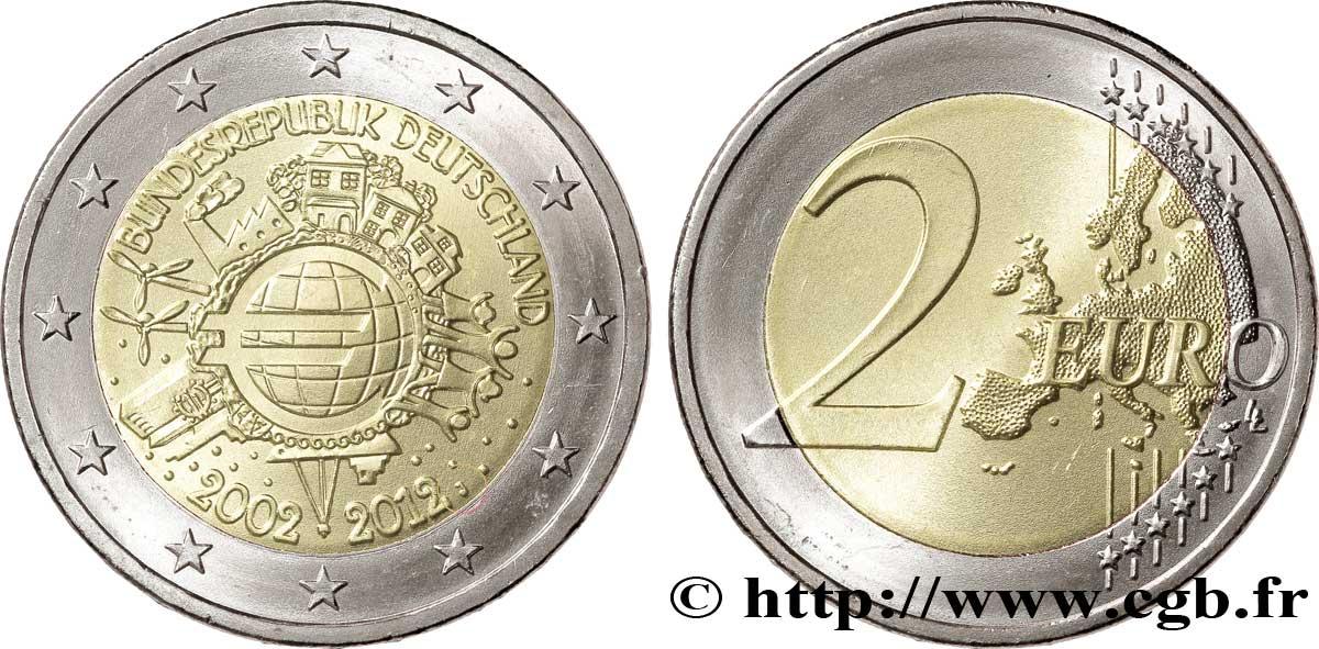 Deutschland 2 Euro 10 Ans Des Pièces Et Billets En Euros Tranche B