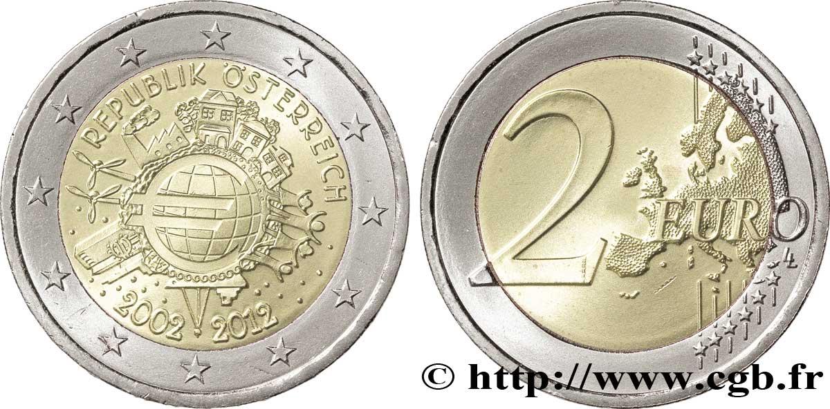 österreich 2 Euro 10 Ans Des Pièces Et Billets En Euros Tranche A
