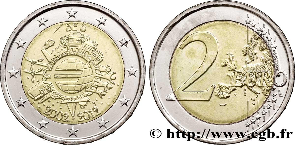 BELGIQUE 2 Euro 10 ANS DES PIÈCES ET BILLETS EN EUROS tranche A - 2012
