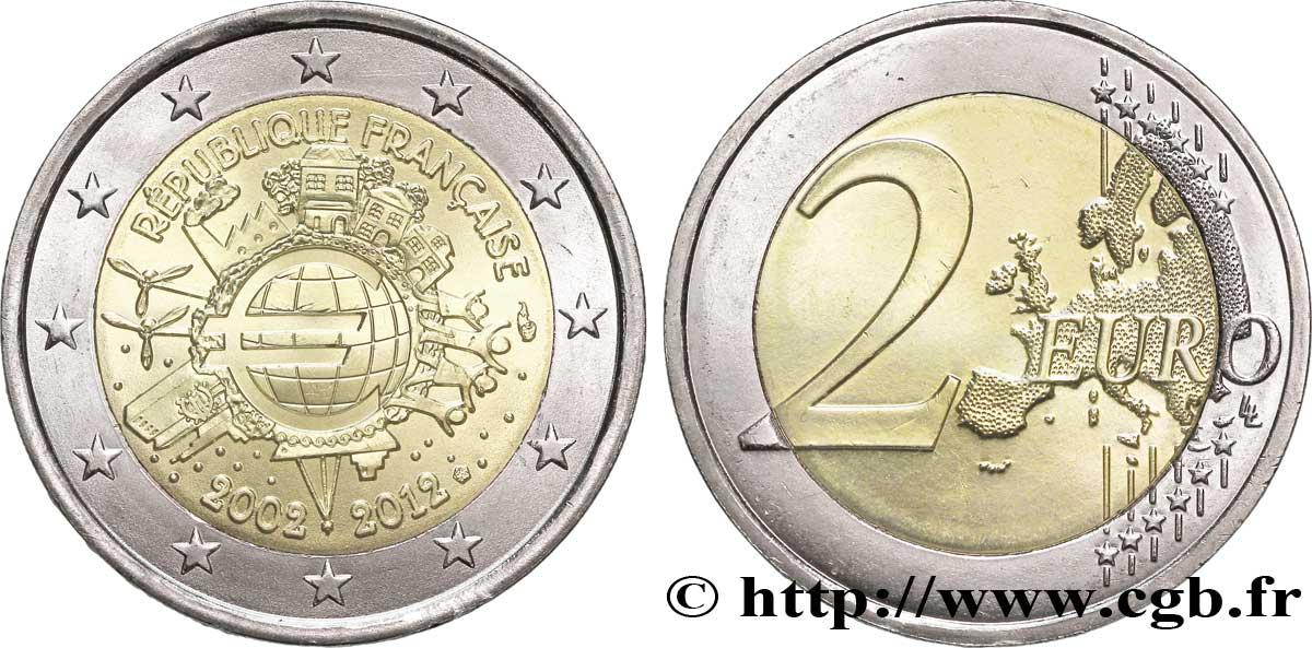5b8cdd4a89 feu_268649 - FRANCIA 2 Euro 10 ANS DES PIÈCES ET BILLETS EN EUROS tranche B  2012 Pessac